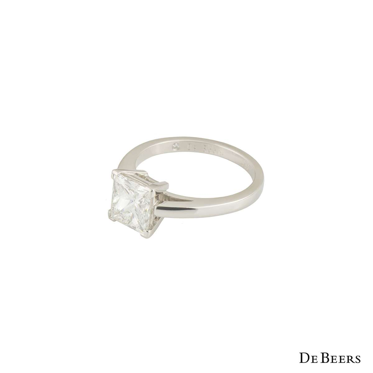 De Beers Diamond Platinum Princess Cut Ring 2.50ct G/VVS1